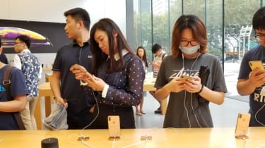 Chinese people at an Apple store