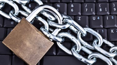 Photo of a padlock guarding against access to a computer