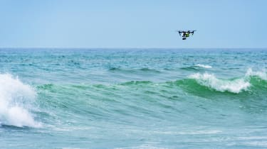 Drone above waves
