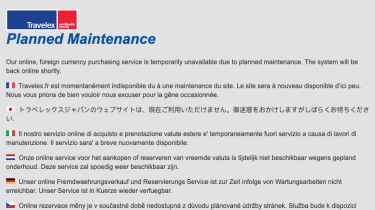 Travelex planned maintenance message