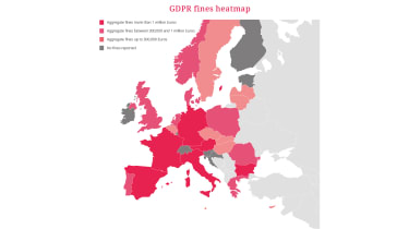 A heatmap of GDPR fines issued across the continent since May 2018