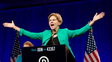 Democratic candidate Elizabeth Warren at a rally
