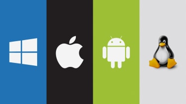 Microsoft, Apple, Android, Linux logos