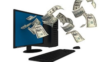 money flying out of a computer