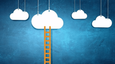 Cloud illustrations on a blue background with a ladder