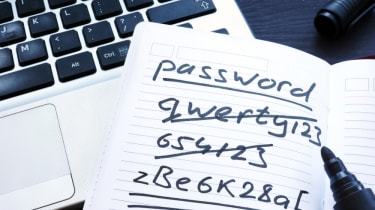 A list of poorly-constructed passwords on a notepad