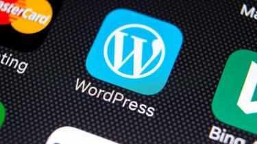 WordPress app icon on iOS device