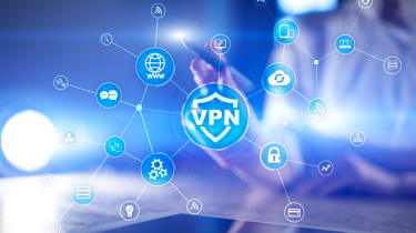 VPN virtual private network icon with glowing connected symbols