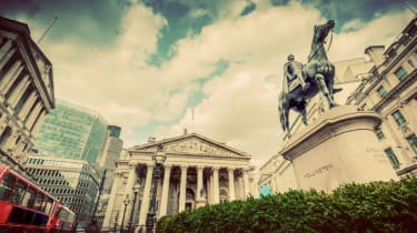 Bank of England with Wellington statue