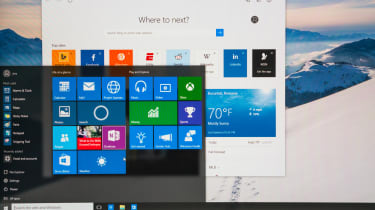 A close up of the Windows 10 home screen