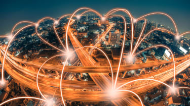 Data streams over a busy city