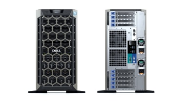 The front and rear of the Dell EMC PowerEdge T640 tower server