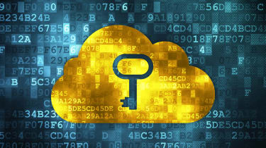Blue square background with a yellow cloud superimposed, with a cut-out key icon on it to represent cloud security