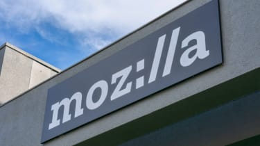 The stylised version of the Mozilla logo on a building