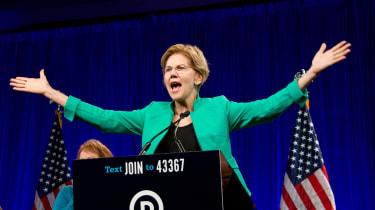 Democratic candidate Elizabeth Warren at a rally